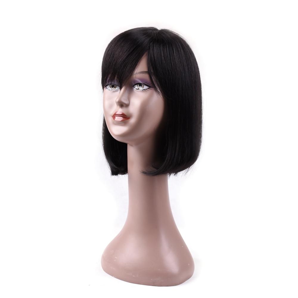 Ms Love Hair Wigs Bob Straight Human Hair Wigs With Bang For Black Women Brazilian Non Remy Human Hair Wigs 1B#