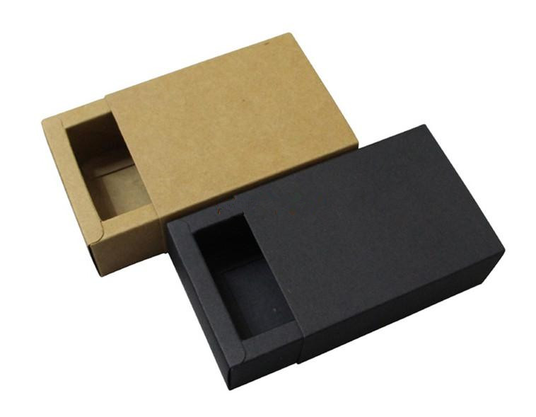 20pcs/lot-6.5*6.5*3cm Small Size Black Kraft Paper Drawer Box Handmade Soap Craft Jewel Macaron Packaging Party Gift Boxes