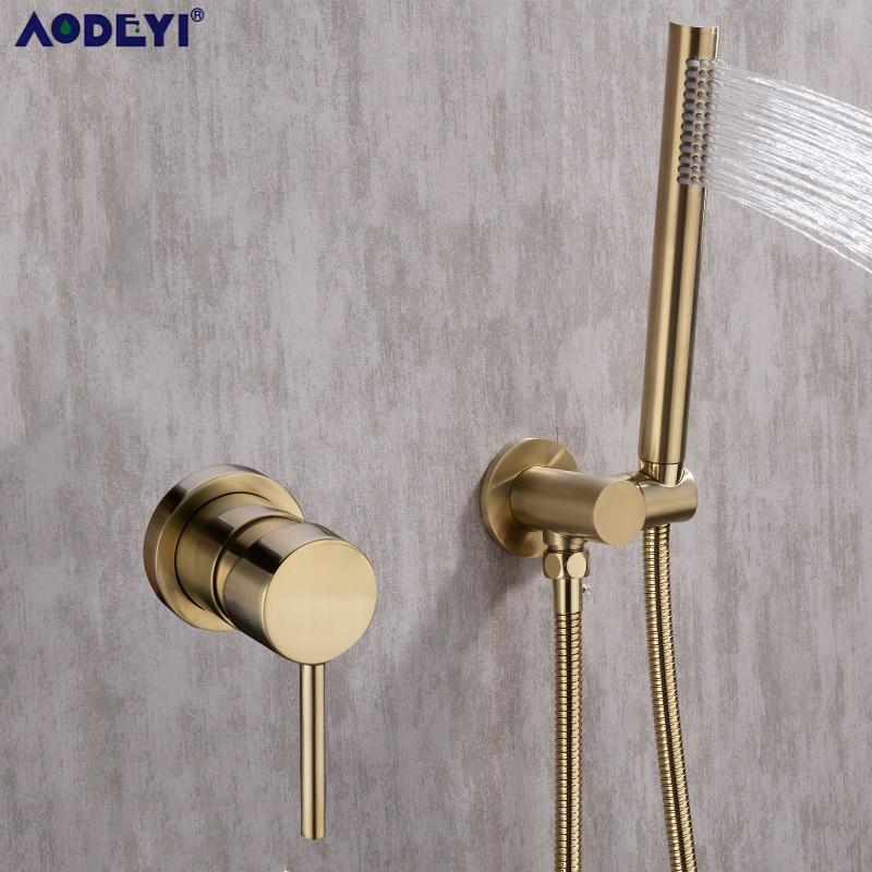 Brass Round Handheld Shower Head Black Matte Finish Shower Connector Adjustable Wall Holder Handheld Water saving