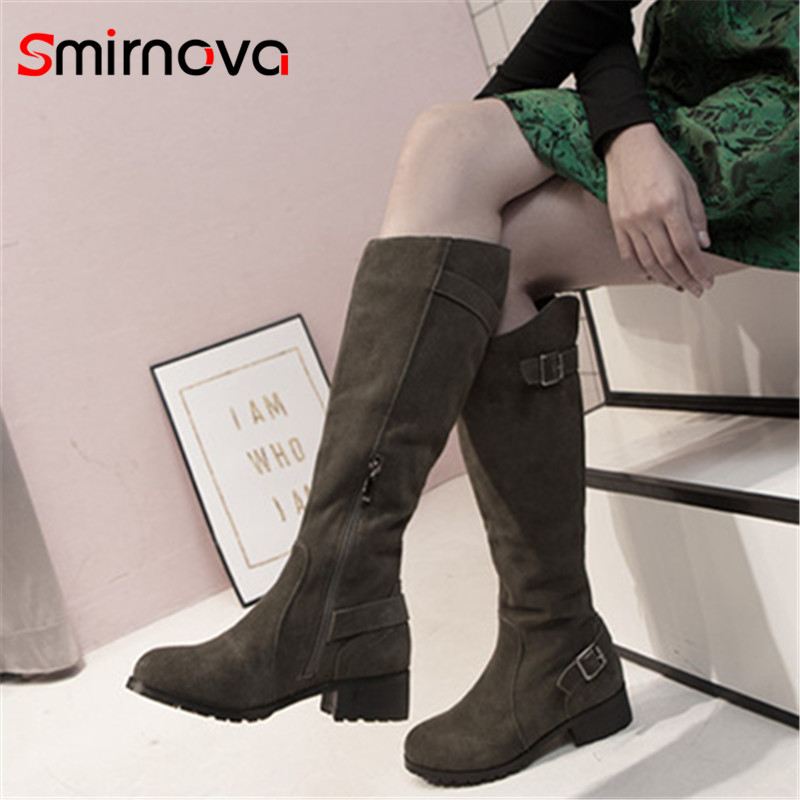 Smirnova 2018 NEW arrival cow suede leather boots casual knee high boots zipper low heel long boots woman autumn winter shoes цена