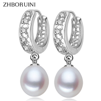 2015 Fashion Pearl Earrings 100 Real Natural Freshwater Pearl 925 Sterling Silver Pearl Dangle Earrings Jewelry
