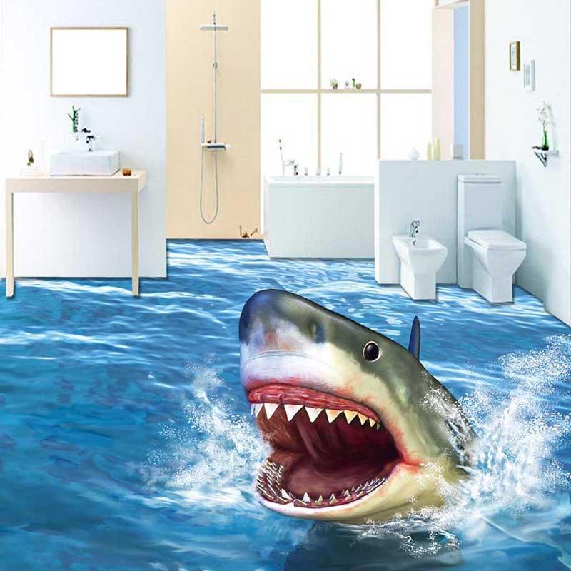 Cartoon 3d Sharp Jump Ocean Wall Decals Waterproof Animals