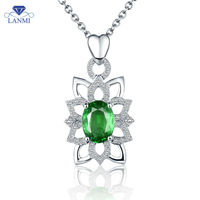 Luxury 18K White Gold Emerald Necklace Pendant Natural Diamond Oval 6x8mm Gemstone For Anniversary Jewelry Gift