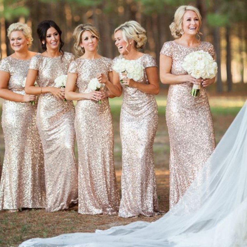 Cheap Bling Gold Sequin Maid of Honor   Dresses   Long   Bridesmaid     Dresses   Gown 2015 Short Sleeves Backless Wedding Party   Dresses