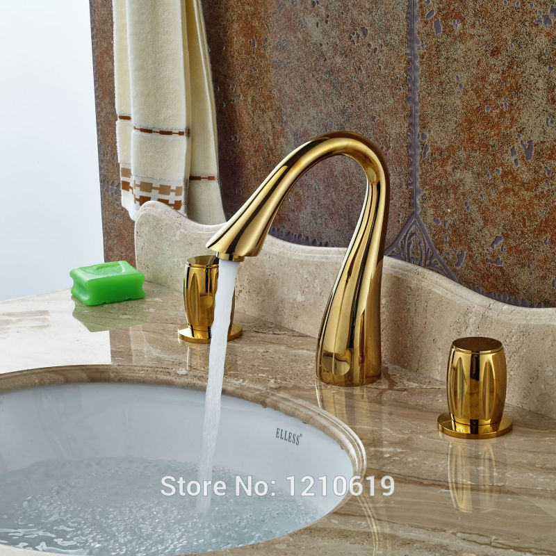 Newly Euro Style Gold Plate Bathroom Sink Faucet Mixer Tap Deck Mount Basin Faucet Tap Dual Handles браслеты exclaim легкий браслет цепочка с миниатюрными цирконами