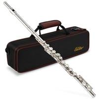 Eastar EFL 1 Closed Hole C Flutes 16 Key Nickel Beginner Flute Set With Carrying Case G key Split E key Woodwind Instrument