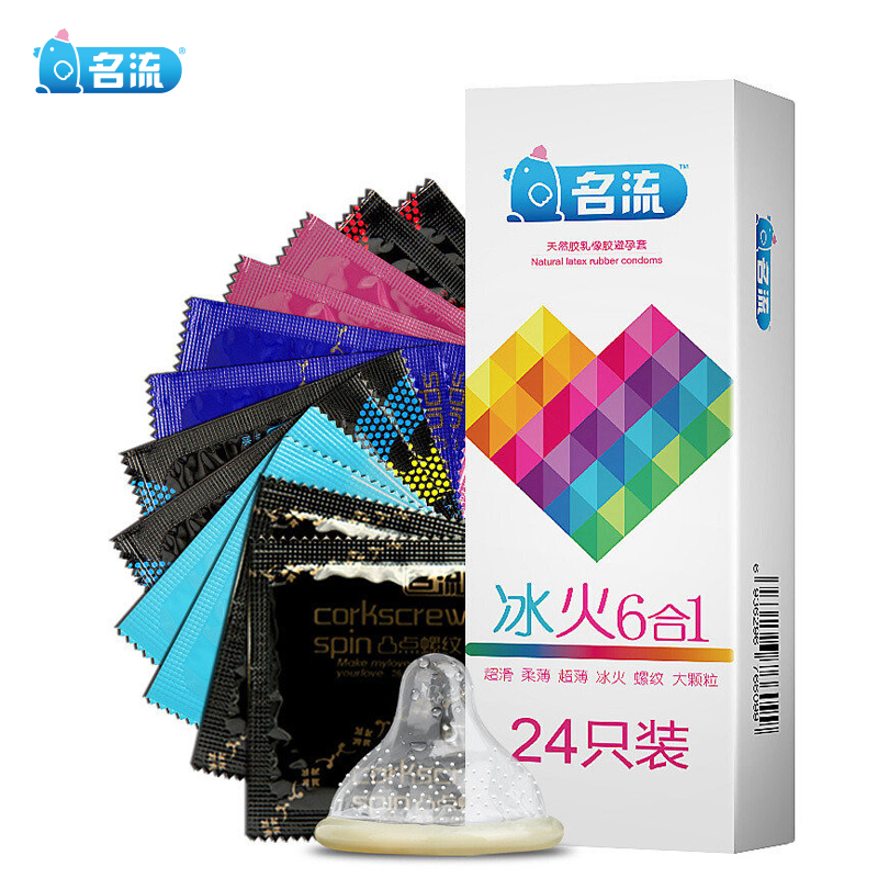 Mingliu 24pcs Mixed Types Condoms Ice & Fire Dotted Ribbed G Spot Stimulation Penis Sleeve Super Thin Condones Sex Toy For Men