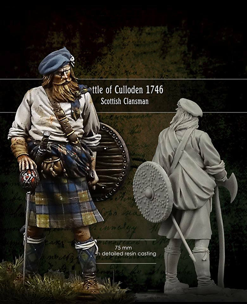 1/24 75MM Battle Of Culloden Officer Scottish Clansman 75MM  Toy Resin Model Miniature Resin Figure Unassembly Unpainted