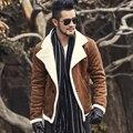 2016 Осень старинные кожаная куртка мужчины шерсть подкладка мужчины теплый меховой воротник куртки Мужские Искусственной кожи короткую куртку пальто F1055