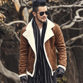2016 Outono vindima velha jaqueta de couro forro de lã homens dos homens Mens jaqueta de couro Falso casaco curto casaco quente gola de pele F1055
