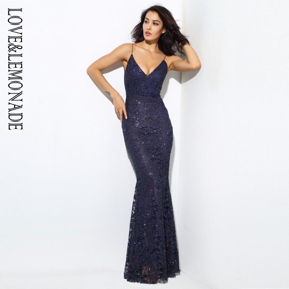 Love & lemoned Navy Deep V cuello abierto flor costillas vestidos largos LM0302-in Vestidos from Ropa de mujer    1