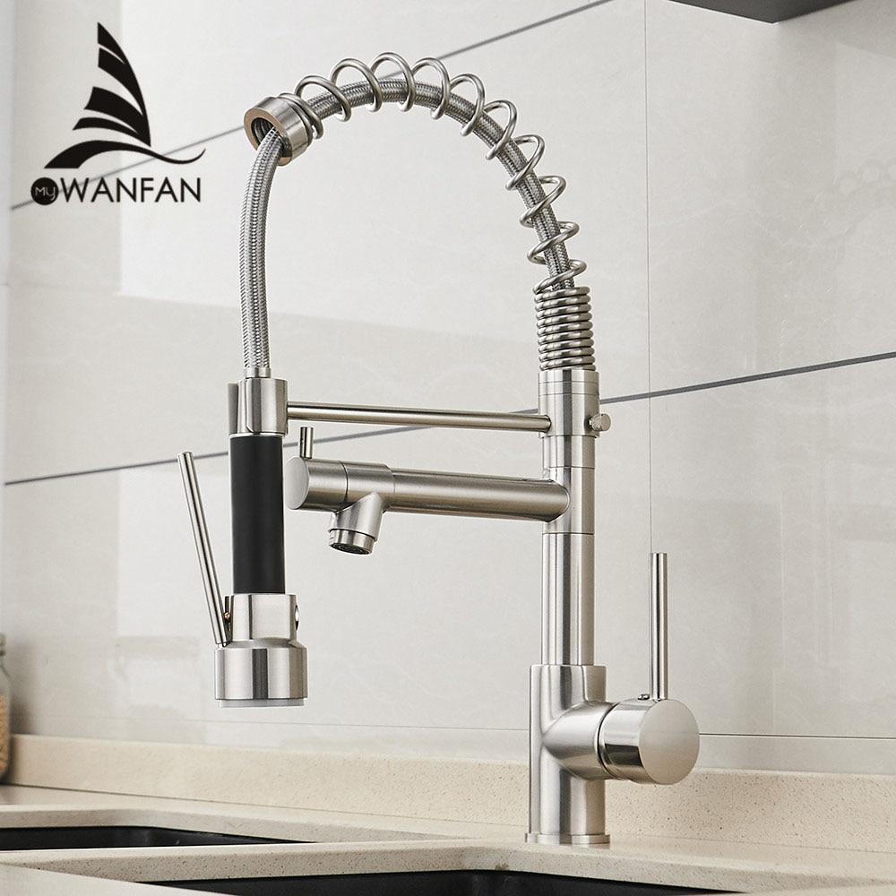 Robinet de cuisine Style printemps robinet en Nickel brossé retirer Torneira tout autour tourner pivotant robinet mitigeur de sortie d'eau 866026