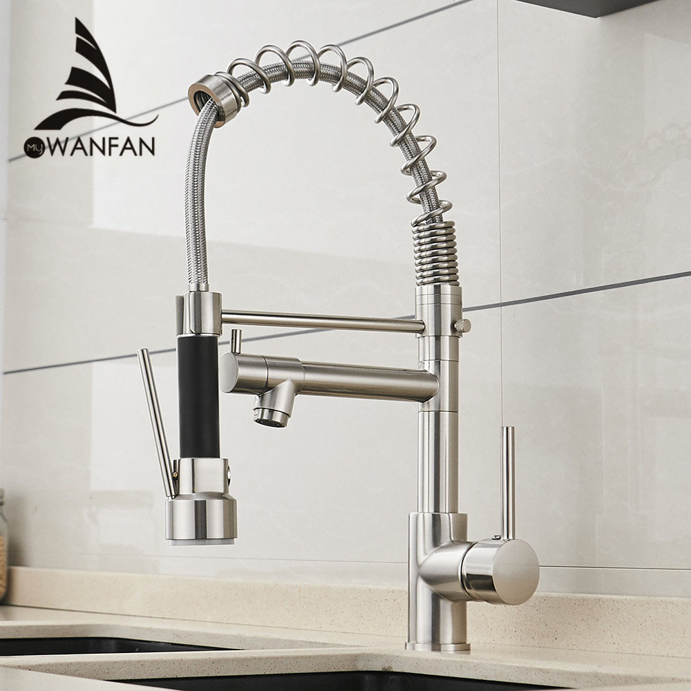 Spring Style Kitchen Faucet Brushed Nickel Faucet Pull Out
