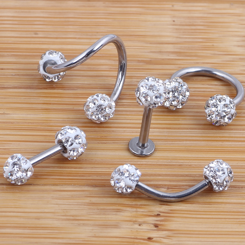 Crystal Shabamball Ball Lip Nose Ear Tragus Septum Ring Twist Belly Bar Ear Bone eyebrow Cartilage Earring Body jewelry