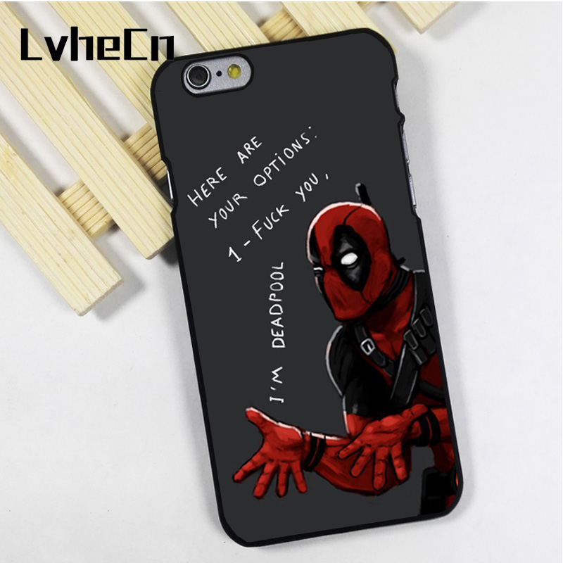 LvheCn phone case cover fit for iPhone 4 4s 5 5s 5c SE 6 6s 7 8 plus X ipod touch 4 5 6 Deadpool option Protector