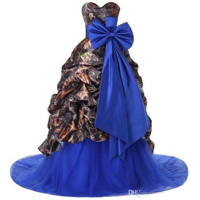 Liebsten Rüschen Royal Blue Lange Camo Hochzeitskleid Brautkleid mit ...