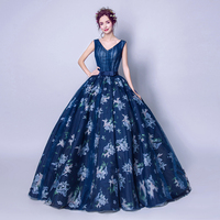 Navy Blue Prom Dresses V neck Sleeveless Pearls Long Formal Party Dresses Floral Vestido Longo Festa Gala Pleats Tulle Prom Gown