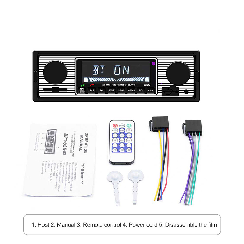 Car Autoradio Bluetooth Vintage Car Radio MP3 Player Stereo USB AUX Classic Stereo Audio car accessories fm transmitter image