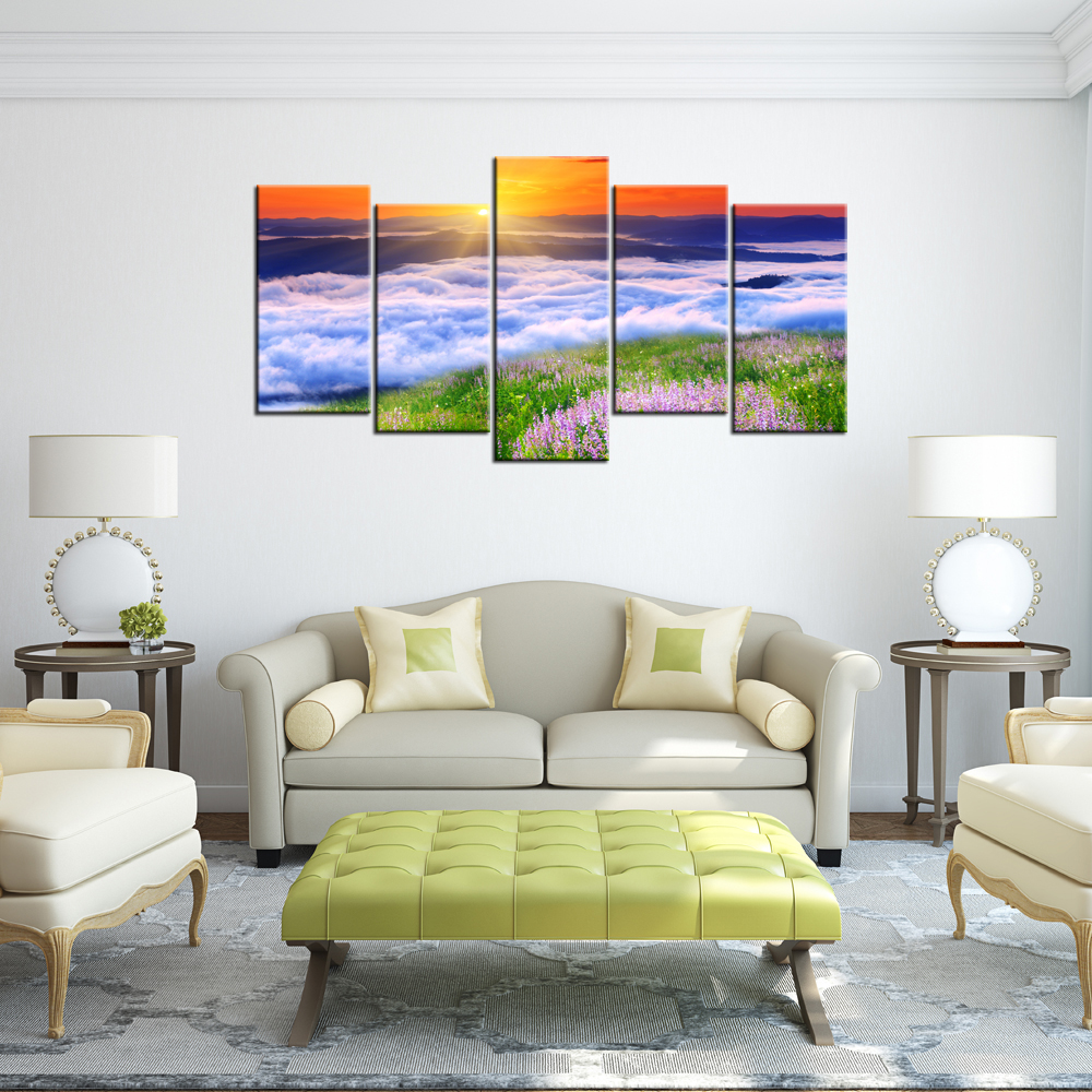 online get cheap contemporary wall decor aliexpresscom  alibaba  -  piece home decorative painting sunrise sea of clouds hd printed modernlanscape canvas art contemporary wall decor murals