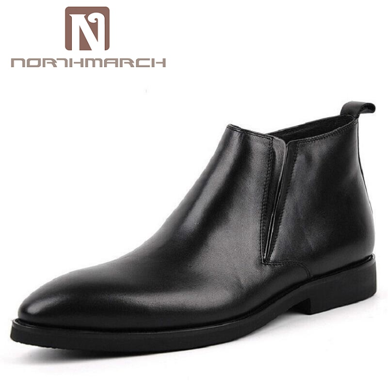 NORTHMARCH Chelsea Boots Men Ankle Genuine Leather Brown Boot Cow Leather Zipper High Quality Men Shoes botas hombre cuero цена
