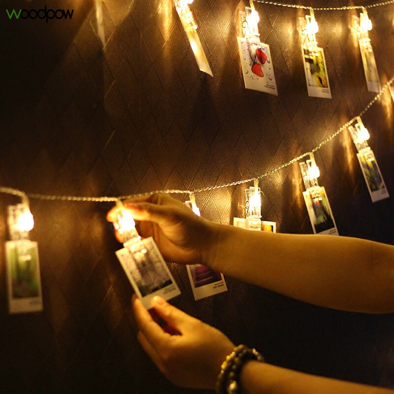 Woodpow Card Picture Photo Led Clip String Light Battery/USB Powered Fariy Garland Lights For Weeding Christmas Party Decoration
