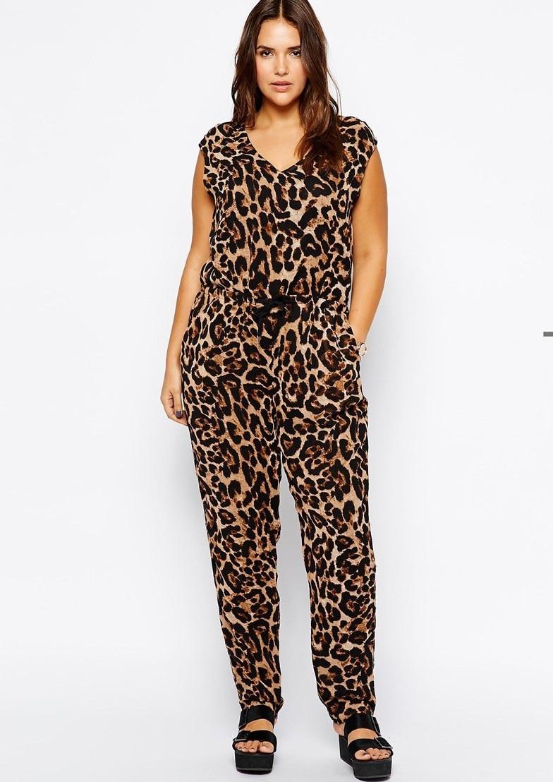 Fashion design sexy v neck jumpsuit plus size leopard ...