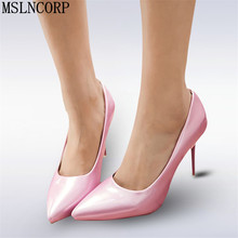 plus size 34-48 Woman High Heels Pumps Women spring Pointed Toe Patent Leather Slip On Party Wedding Shoes Thin Heels Stilettos недорого