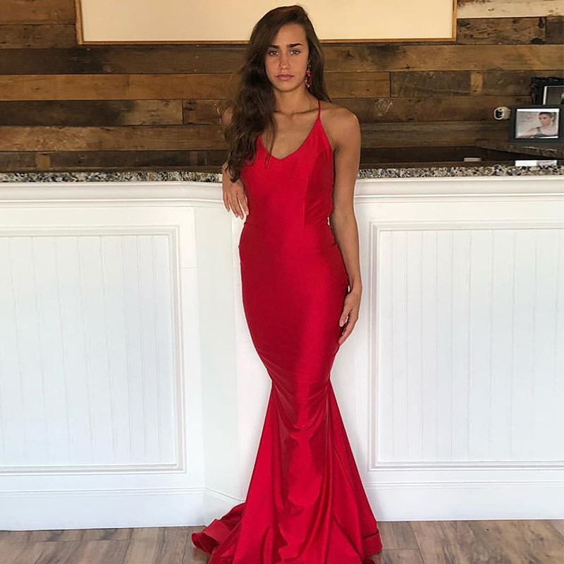 Charming Mermaid   Prom     Dresses   Red Elastic Satin Crisscross Straps Back Formal Evening Party   Dresses   Long Special Occasion Gowns