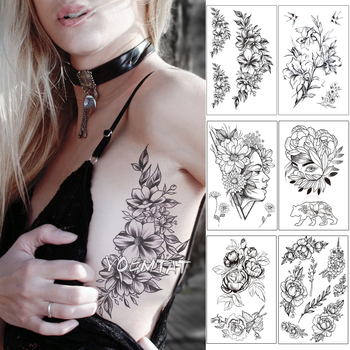 Sketch Flower Blossom Peony Rose Waterproof Temporary Tattoo Sticker Black Tattoos Body Art Arm Hand Girl Women Fake Tatoo
