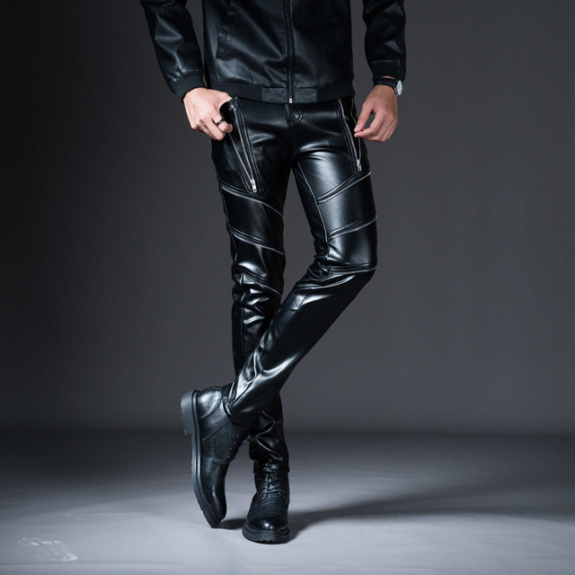New Winter Spring Men's Skinny Leather Pants Fashion Faux Leather Trousers For Male Trouser Stage Club Wear Biker Pants 3