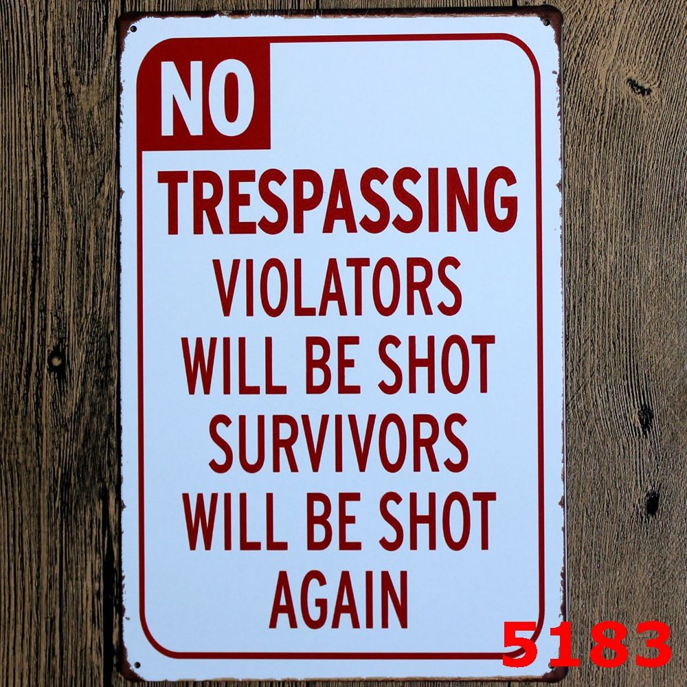 Vinage Home Decor No Trespassing Plaques & Signs Bar Posters Matel Tin Signs 20cm*30cm