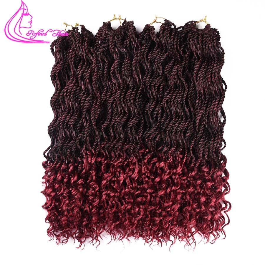 Raffiné Cheveux Bouclés Twist Sénégalaise avec Livraison Fin Crochet Tressage Extensions de Cheveux 18 Pouces 30 Brins Synthétique Ondulés Crochet Tresse