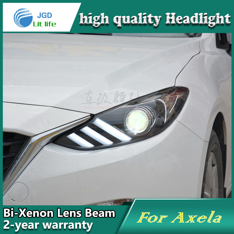 case for Mazda 3 mazda3 Axela 2014 2015 Headlights LED Headlight DRL Lens Double Beam Bi-Xenon HID car Accessories for mazda 3 axela 2013 2015 year led headlight head lamp with bi xenon projector lens front light ld