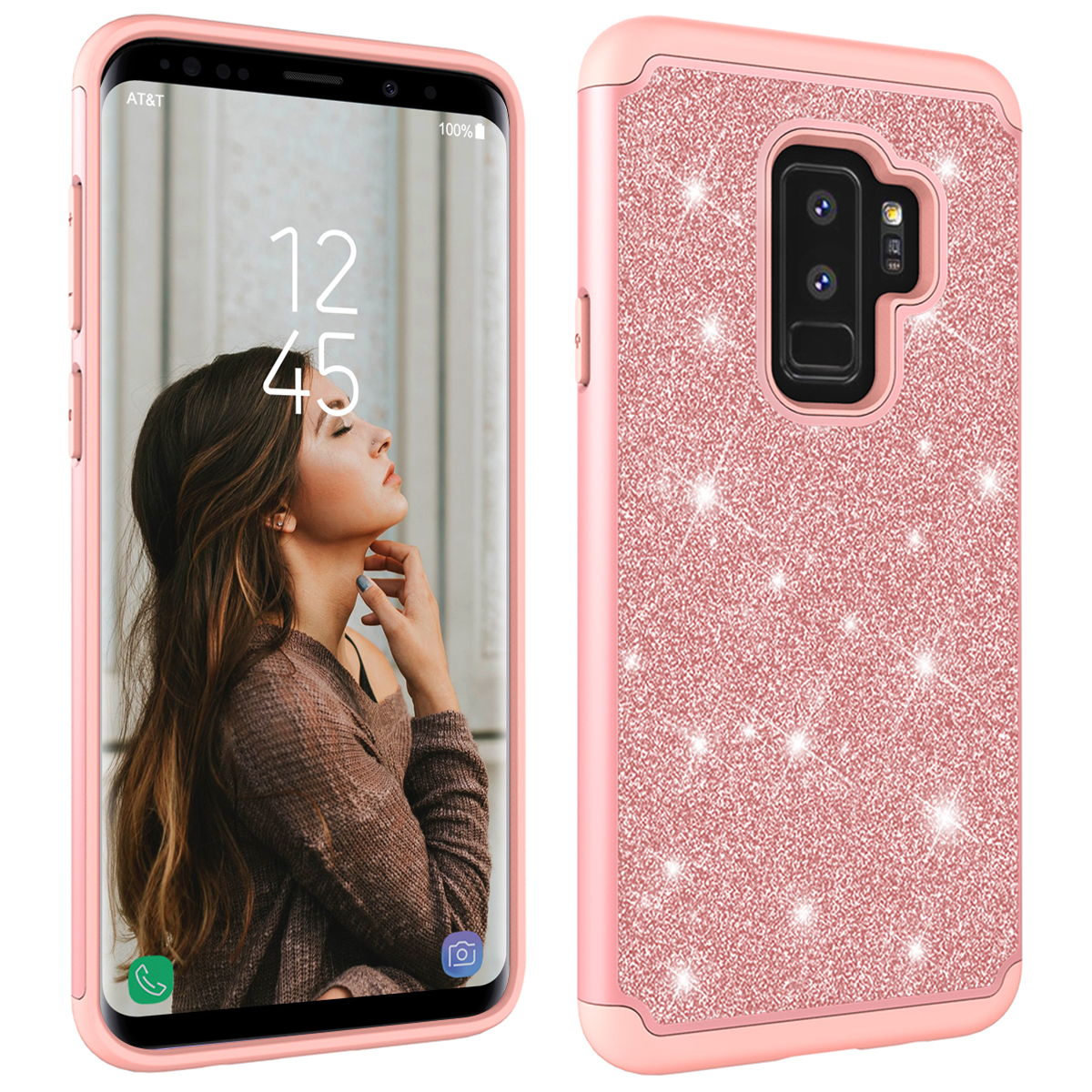 Luxury Case For Samsung Galaxy S8 S9 plus Cover 2 in 1 Glitter Bling Shockproof PC Silicone Hard Cover For Samsung J3 J7 Note 9