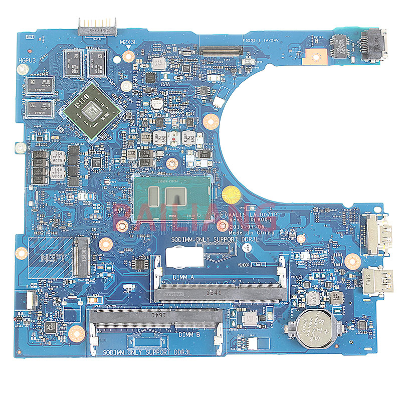 Carte mère d'ordinateur portable pour DELL Inspiron 15 15-5559 PC carte mère SR2EZ I7-6500U 0PX6JH AAL15 LA-D071P full tesed DDR3
