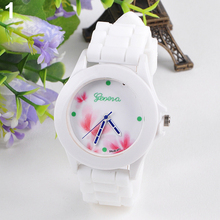 New Newest Women's Geneva Flowers Printed White Silicone Band Analog Quartz Wrist Watch