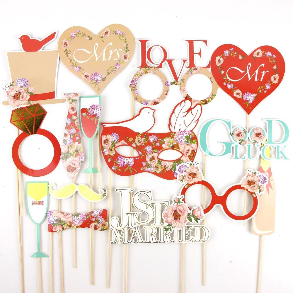 Red 15pcs Wedding Photo Booth Props on a Stick Set with Gold Foiled Edge Holiday Song Lyric Signs