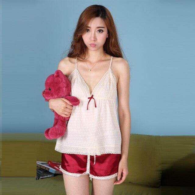 cb3b3d1a382b Top Sell Women s Sleep   Lounge 100% Cotton Top Silk Pants Wood Button  Lady s Pajama Sets