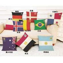 цена на 2018 World Cup 32 strong football team logo cotton and linen pillowcase bar club sofa pillowcase gift pillow,Office plane pillow