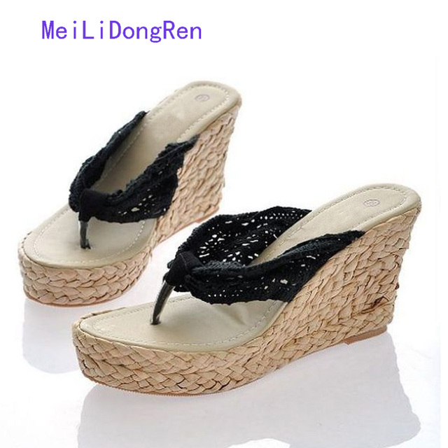 50e602a5 Fashion Women Summer Soft Platform Sandals High Heel Wedge Slippers Lace  Straw Shoes Flip Flops Loafer Sandalias