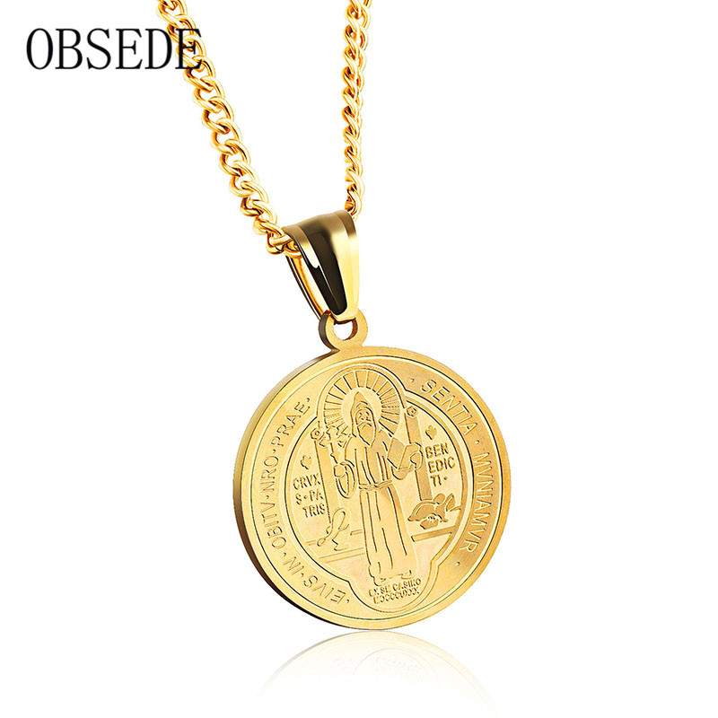 Completely new OBSEDE Vintage Couple Jewelry Women Men Necklace Round Christian  NR81