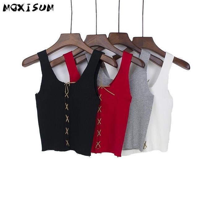 23018e6d8deea6 Moxisum Elastic Cross lace up Knit Tank Top Women Bustier sexy Crop Tops  Women 2017 Summer Solid Black White Red