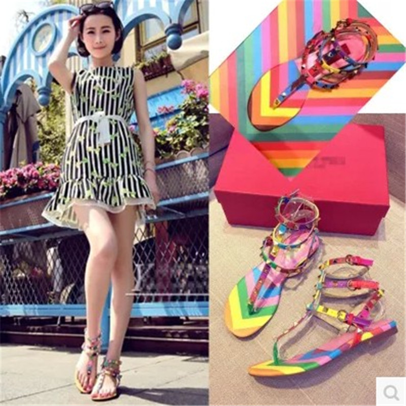 2017 Fashion Italy design brands women flats sandals rivet Rainbow  multicolor flip flops women gladiator sandals high quality -in Women s  Sandals from Shoes ... caa33e3642ee