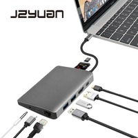 JZYuan USB C Type C 3 1 Hub To HDMI Mini DP 3 5mm Audio Ethernet