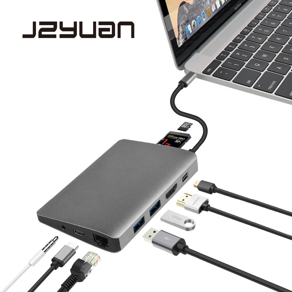 JZYuan USB di Tipo C C 3.1 Hub a HDMI Mini DP 3.5mm Audio Adattatore Ethernet Per Samsung Galaxy S9 huawei P20 Pro di Tipo-C USB 3.0 HUB