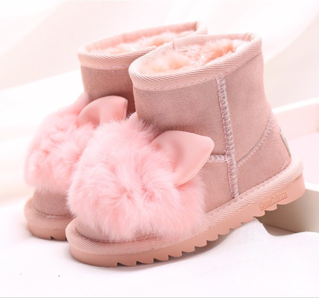 LIULIVERSON~Super Cute Little Bunny Children s Boot Cold Winter Warm Snow  Wear Long Plush Boot for Baby Girl Real Leather Shoe 4742a8639b44