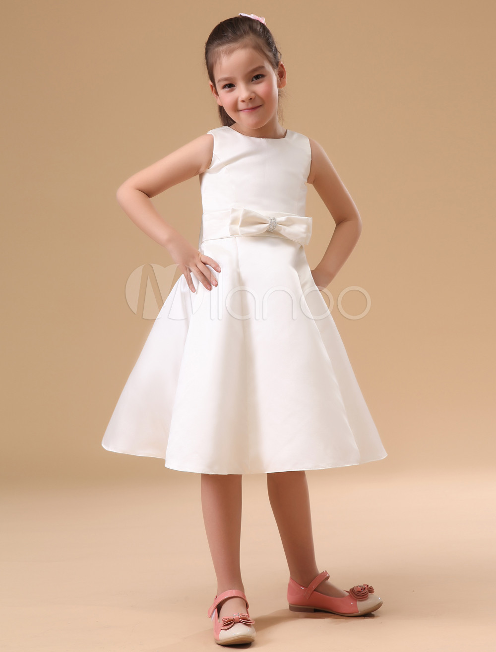 ФОТО A-Line Flower Girls Dresses For Wedding Gowns Mid-Calf  Kids Prom Dresses Bow  Glitz Pageant Dresses for Little Girls