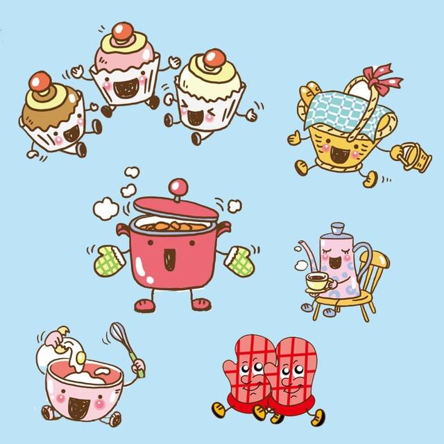 Dibujos Cocina | Aparatos De Cocina De Dibujos Animados De Color Pegatinas De Pared