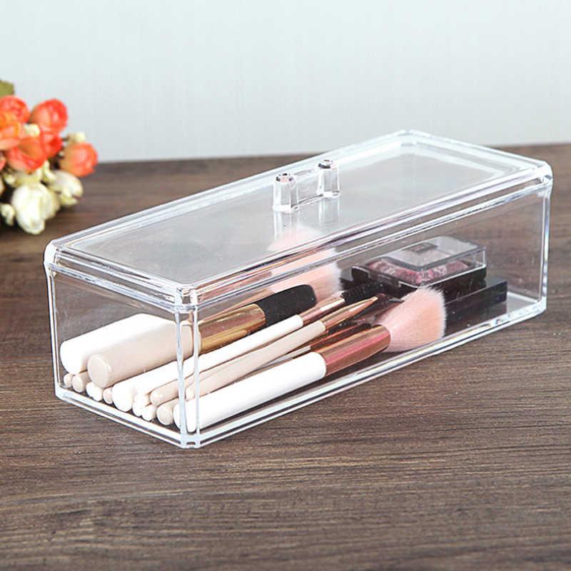 HUNYOO Rechteck Hause Klare Transparente Organisieren Kosmetik Make-Up Make-Up Baumwolle Tupfer Acryl Box Für Lagerung