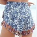 Summer Beach Eethnic Print Pom Pom Shorts Women Tassel Trim Shorts Elastic Waist Short femme